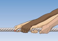 Tug-of-war. Close-up of illustration of human hands pulling rope Royalty Free Stock Image