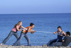 Tug of war. Fun, happy Stock Photos