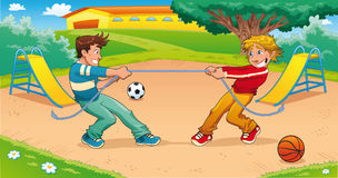 Tug of war with background. Funny cartoon and  illustration Stock Photography