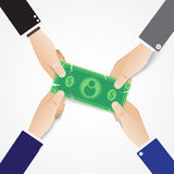 Tug of war business competing. Hands tug a money bill flat style concept vector design. Tug of war business competing. Market share battle fighting. Hands tug a Stock Images
