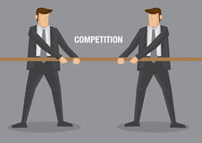 Tug of War Business Concept Vector Illustration. Two businessmen in tug of war contest with text competition between them. Conceptual vector illustration for Royalty Free Stock Photography