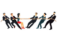 Tug of war. Business men and women pulling rope in game of tug of war on white background Stock Photography