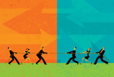 Tug of War. Business people competing for market share in a tug-of-war battle.The people and rope are on a separate labeled layer from background royalty free illustration