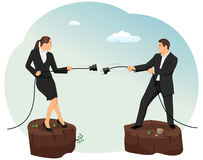 Tug of war. Businessman and businesswoman are unplugging the power cable above the precipice. Relationship disconnection Royalty Free Stock Photos