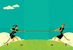 Tug of War. Businesswomen competing for market share in a tug-of-war battle.The women and rope are on a separate labeled layer from background vector illustration