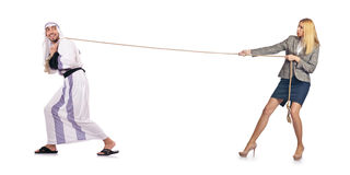 The tug of war concept on white. Tug of war concept on white Stock Photos