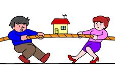 Tug of war for estate. Tug of war between a man and a woman Stock Photos