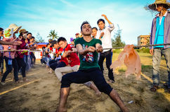 Tug of war game. Tug of war at a festival of VietNam Stock Photos