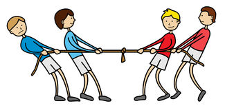 Tug of war kids. Illustration of kids playing tug of war Royalty Free Stock Images