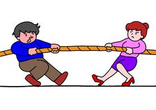 Tug of war. Between a man and a woman Royalty Free Stock Images