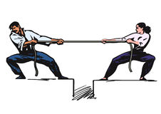 Tug of war. Man and woman are pulling rope. Business competitive concept. Couple fighting. Gender conflict. Psychology of relationships. Hand drawn sketch Stock Images