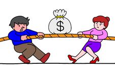 Tug of war for money. Tug of war between a man and a woman Royalty Free Stock Photos
