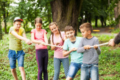 Tug-of-war in park Royalty Free Stock Photography