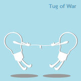 Tug of war. Two light bulb pulling a rope in opposite direction Royalty Free Stock Photography