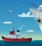 Tugboat που τραβά το χαλασμένο πολεμικό πλοίο Στοκ Εικόνες