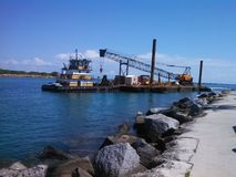 Tugboat, barge with crane. Royalty Free Stock Photos
