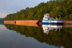 Tugboat and Barges on the Warrior River Royalty Free Stock Photography