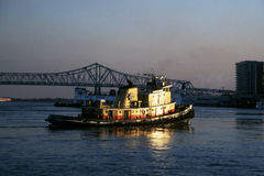 Tugboat and bridge Stock Image