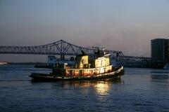 Tugboat and bridge Stock Image