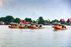 Tugboat cargo ship in Chao Phraya river. Royalty Free Stock Images