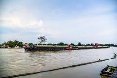Tugboat cargo ship in Chao Phraya river. Stock Photos