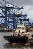 Tugboat & Cranes Stock Photo