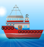Tugboat floating in the ocean Stock Photos