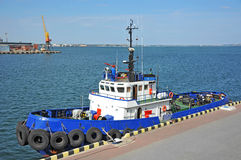 Tugboat in harbor quayside. On Odessa, Ukraine Royalty Free Stock Photos