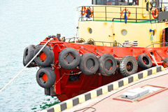 Tugboat in harbor quayside. On Odessa, Ukraine Stock Images