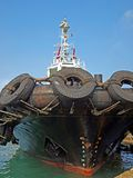 Tugboat with Large Tires Stock Photo