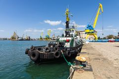 Tugboat near the pier in the seaport of Bourgas. Stock Photography