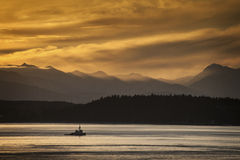 Tugboat and Olympic Mountains Stock Photography