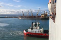 Tugboat pcha rejsu liniowa zdjęcia stock