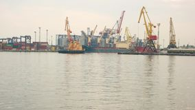 Tugboat and port. stock footage