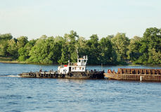 Tugboat and river barge Royalty Free Stock Photography
