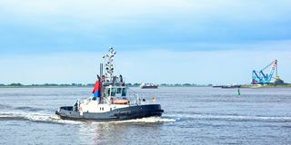 Tugboat on river Weser Royalty Free Stock Photo