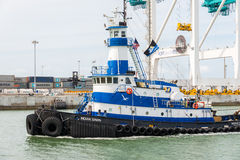 Tugboat sailing in the Port of Miami Stock Photo