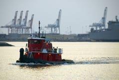 Tugboat at Sunset royalty free stock photo