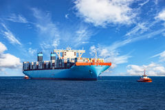 Tugboat Towing Container Ship Royalty Free Stock Image