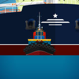 Tugboat Towing a Large Ship Stock Images