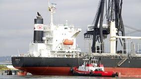 Tugboat VALOR pushing Bulk Carrier BUNUN ACE sideways to dock. OAKLAND, CA - JANUARY 25, 2016: Tugboat VALOR off the starboard quarter of bulk carrier BUNUN ACE Royalty Free Stock Photography
