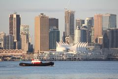 Tugboat, Vancouver Skyline horizontal Royalty Free Stock Photo
