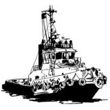 Tugboat Vector, Eps, Logo, Icon, Silhouette Illustration by crafteroks for different uses. Visit my website at https://crafteroks. vector illustration