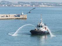 Tugboat welcoming a cruise liner in the harbor. Royalty Free Stock Images