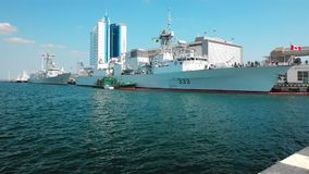 Tugboat works with the mooring of NATO warships. Alliance in the Ukrainian port of Odessa