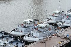 Tugboats of the French Navy moored in the port royalty free stock photography