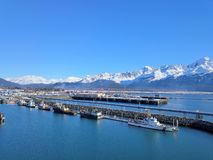 Work boat in Alaskan harbor stock photography