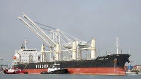 Tugboats pomagają masowego przewoźnika BUNUN as manewrować Zdjęcie Royalty Free