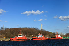 Tugboats in port Stock Photo