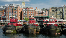 Tugboats in Portsmouth harbor, NH Stock Photo